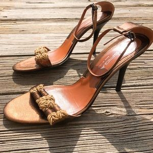 Via Spiga Italy Bronze Braided Rope Heels Shoes